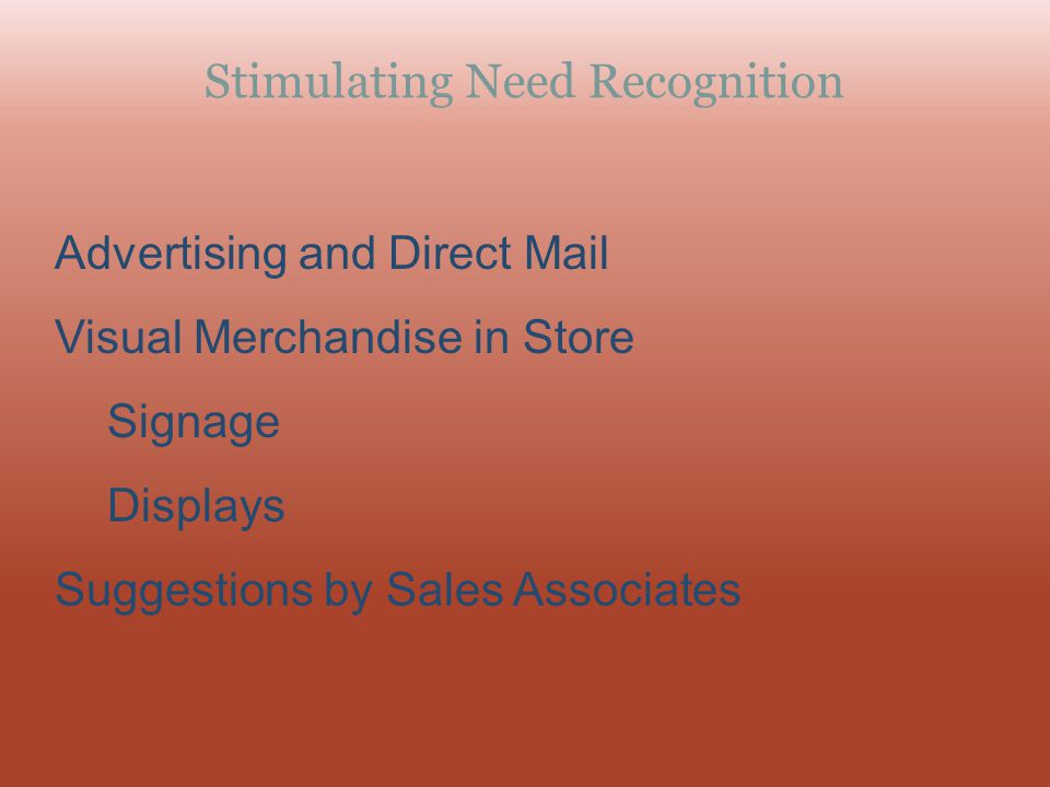 Stimulating Need Recognition Advertising and Direct Mail Visual Merchandise in Store Signage Displays Suggestions by Sales Associates
