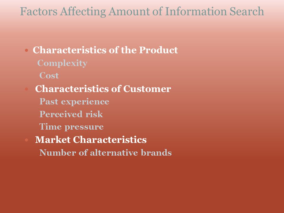 Factors Affecting Amount of Information Search Characteristics of the Product Complexity Cost Characteristics of Customer Past experience Perceived ri