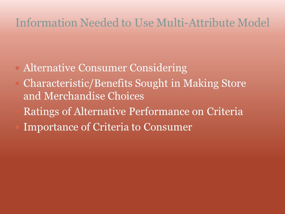 Information Needed to Use Multi-Attribute Model Alternative Consumer Considering Characteristic/Benefits Sought in Making Store and Merchandise Choice