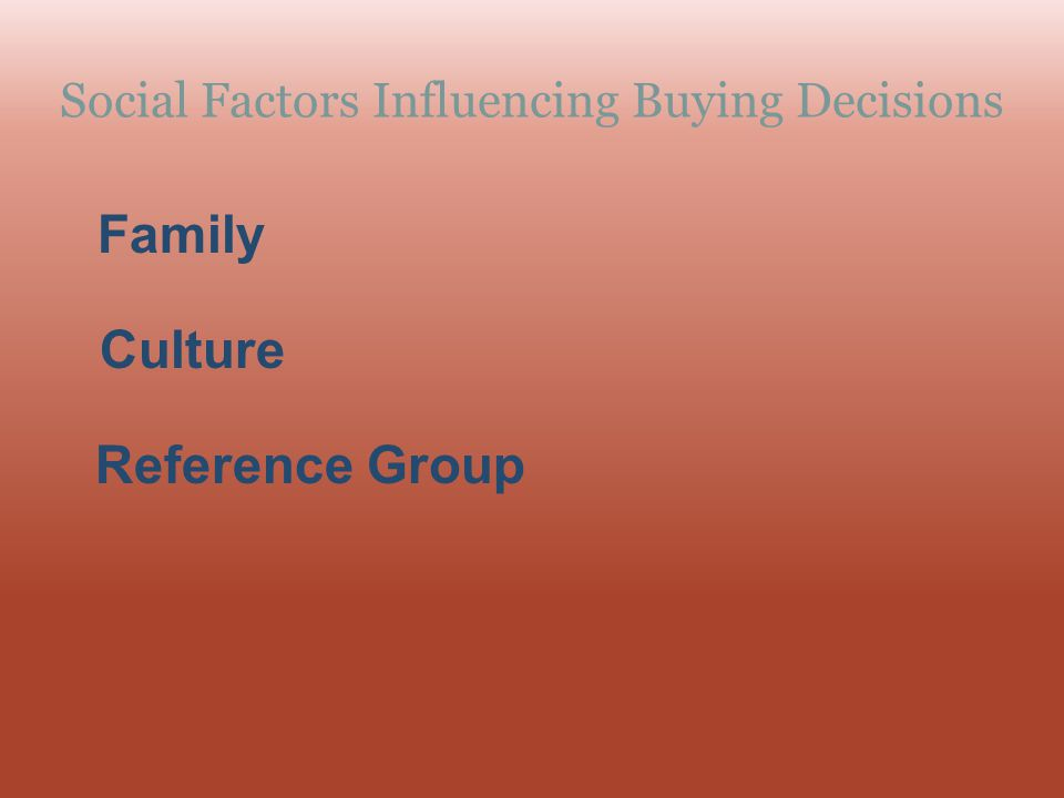 Social Factors Influencing Buying Decisions Family Reference Group Culture