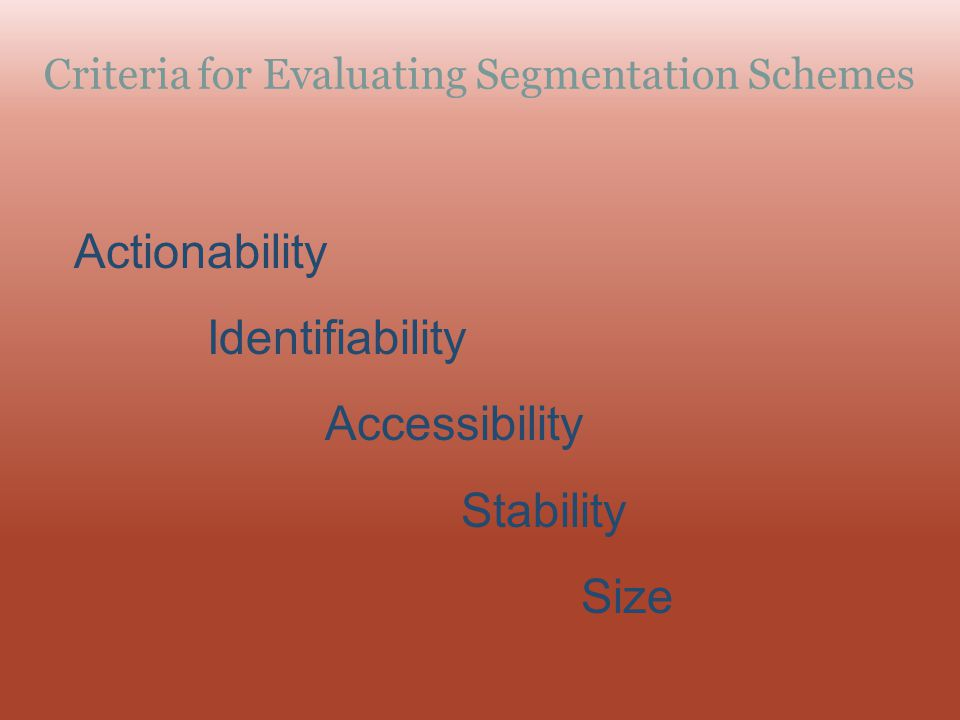 Criteria for Evaluating Segmentation Schemes Actionability Identifiability Accessibility Stability Size