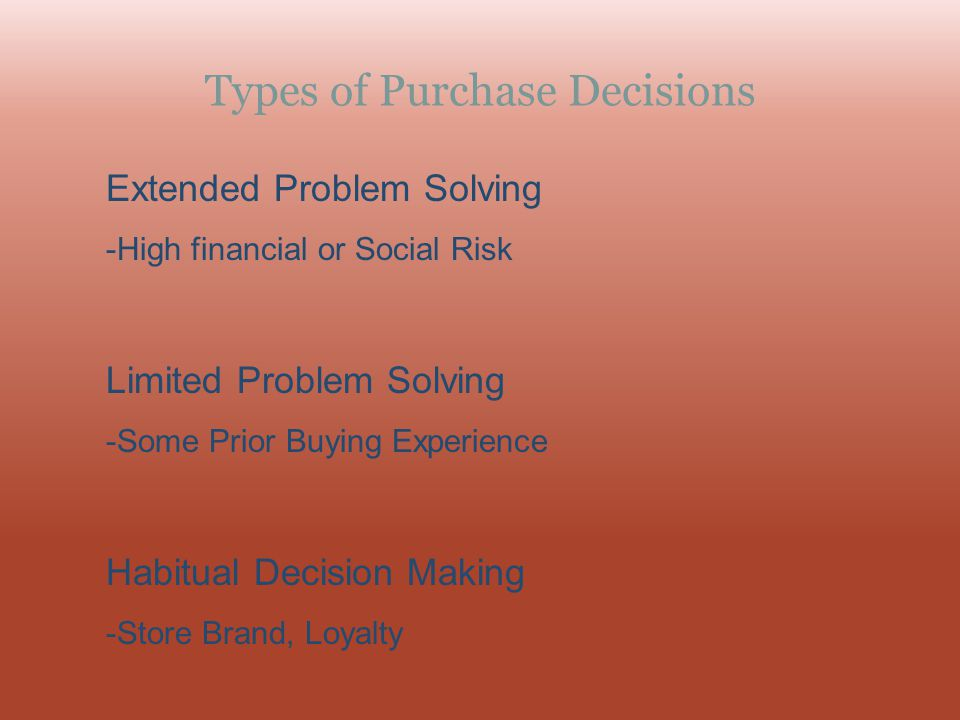 Types of Purchase Decisions Extended Problem Solving -High financial or Social Risk Limited Problem Solving -Some Prior Buying Experience Habitual Dec