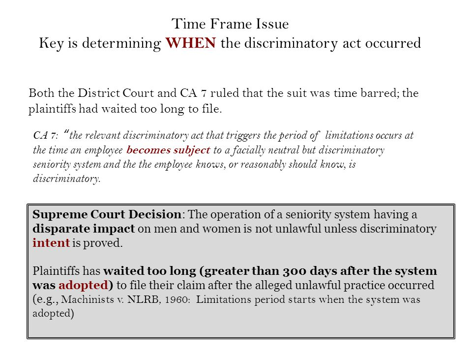 Both the District Court and CA 7 ruled that the suit was time barred; the plaintiffs had waited too long to file.