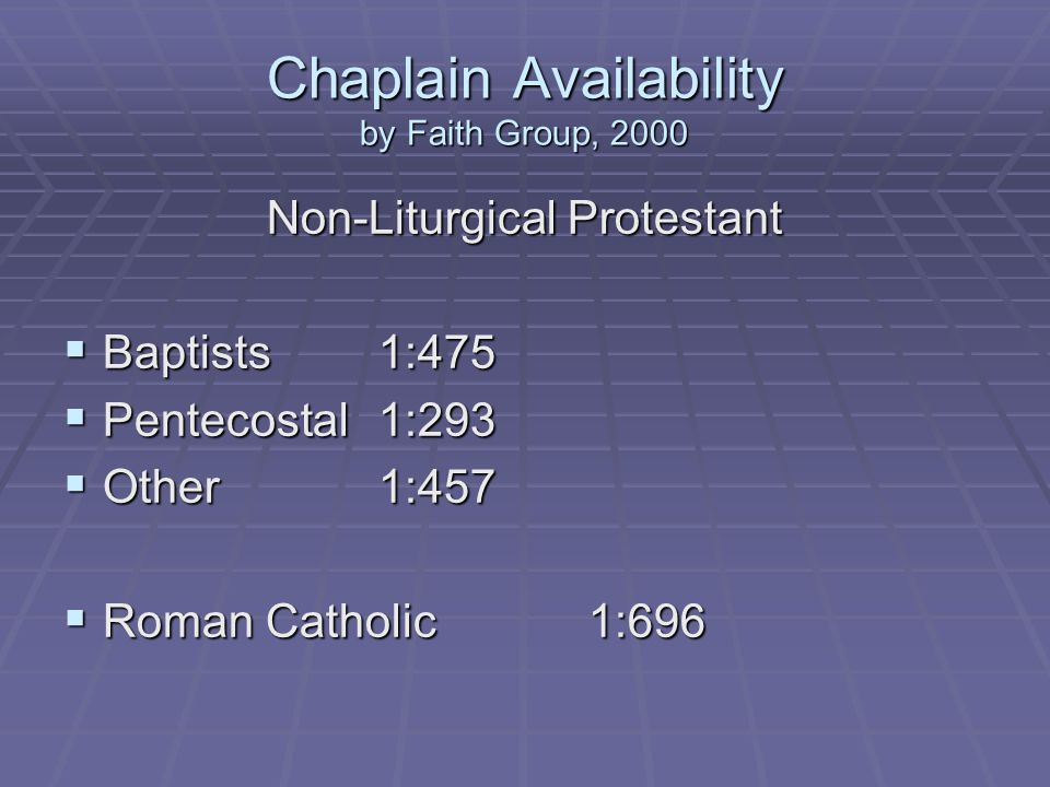 Chaplain Availability by Faith Group, 2000 Non-Liturgical Protestant Baptists1:475 Baptists1:475 Pentecostal1:293 Pentecostal1:293 Other1:457 Other1:457 Roman Catholic1:696 Roman Catholic1:696