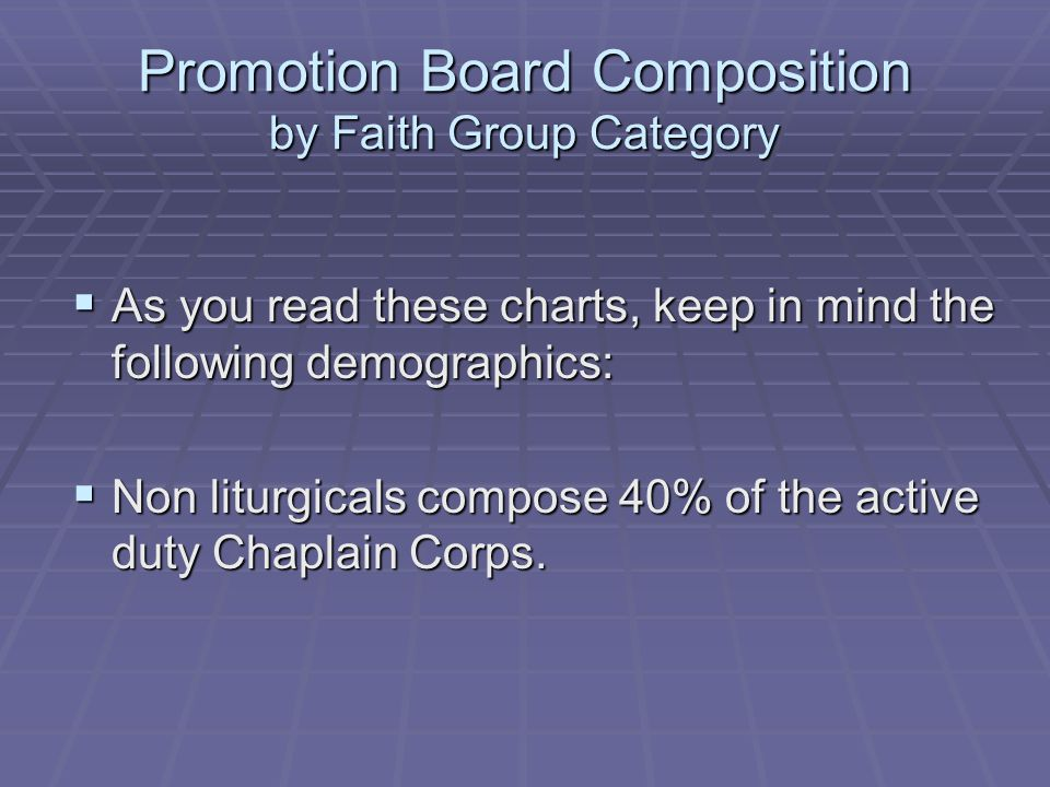 Promotion Board Composition by Faith Group Category As you read these charts, keep in mind the following demographics: As you read these charts, keep in mind the following demographics: Non liturgicals compose 40% of the active duty Chaplain Corps.