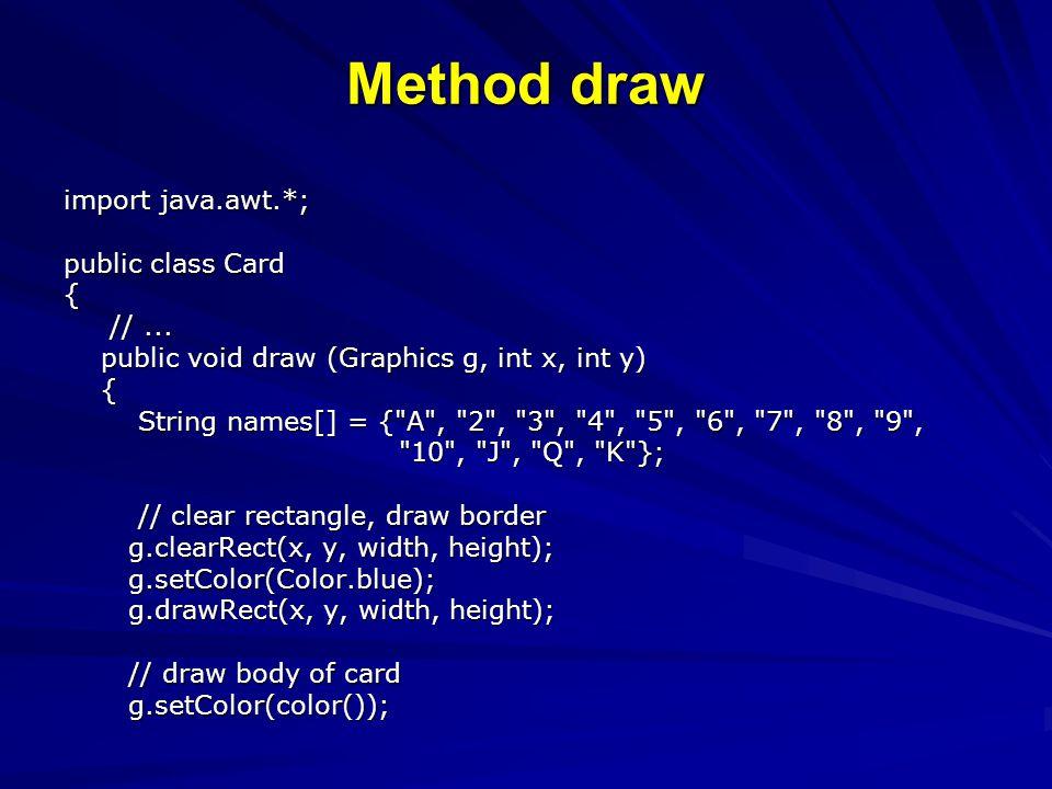Method draw import java.awt.*; public class Card { //...