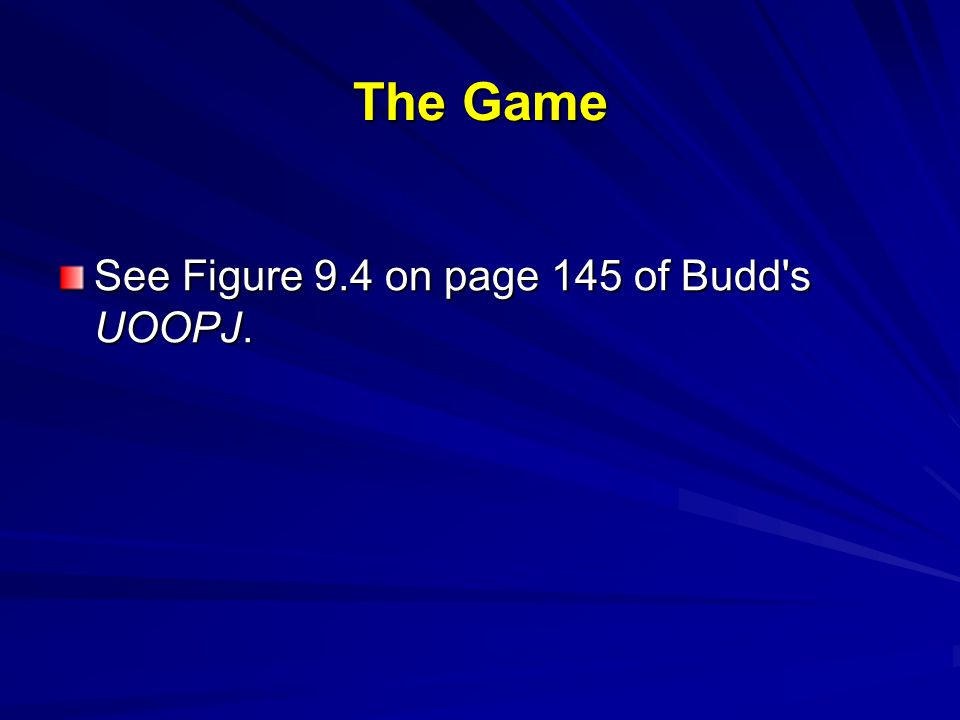 The Game See Figure 9.4 on page 145 of Budd's UOOPJ.