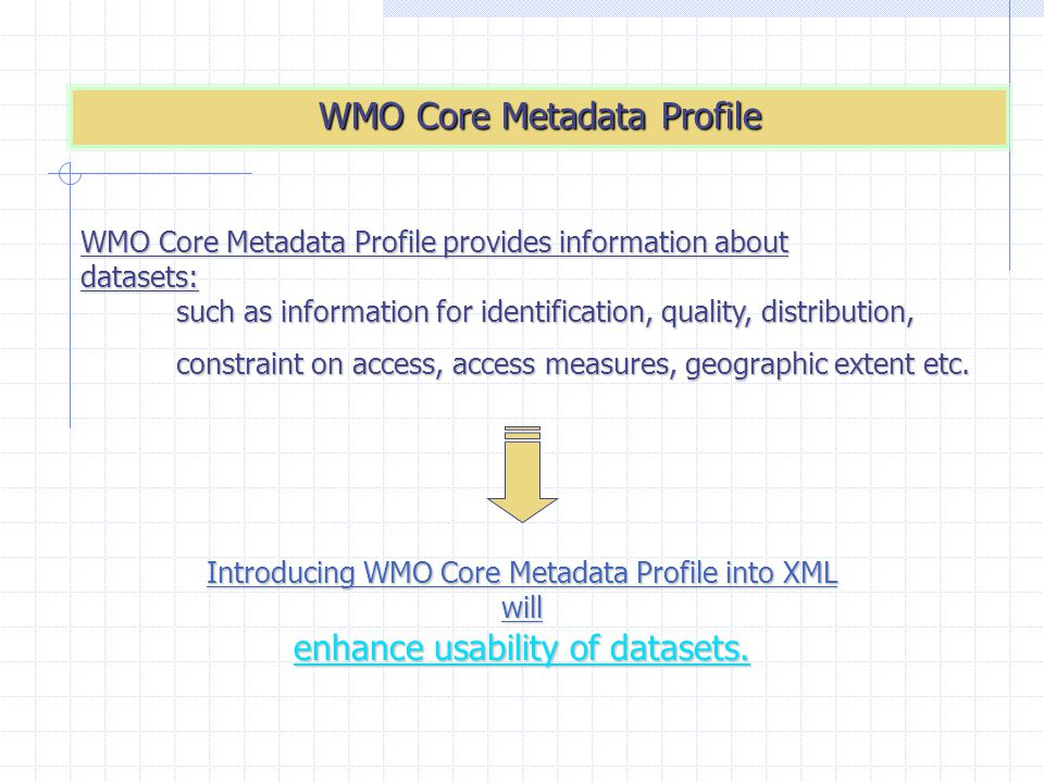 WMO Core Metadata Profile WMO Core Metadata Profile provides information about datasets: such as information for identification, quality, distribution