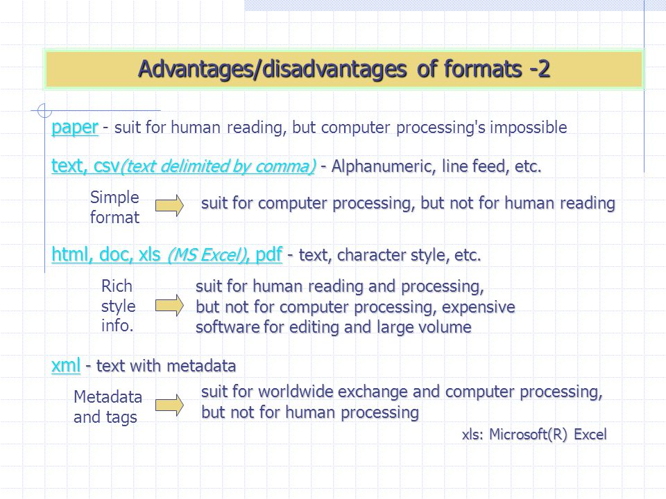 Advantages/disadvantages of formats -2 text, csv (text delimited by comma) - Alphanumeric, line feed, etc. html, doc, xls (MS Excel), pdf - text, char