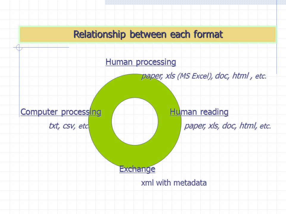A possible flow of format conversion focused on XML Human reading Computer processing Human processing xls html txt Exchange xml with metadata XSLT style sheet Manual conversion