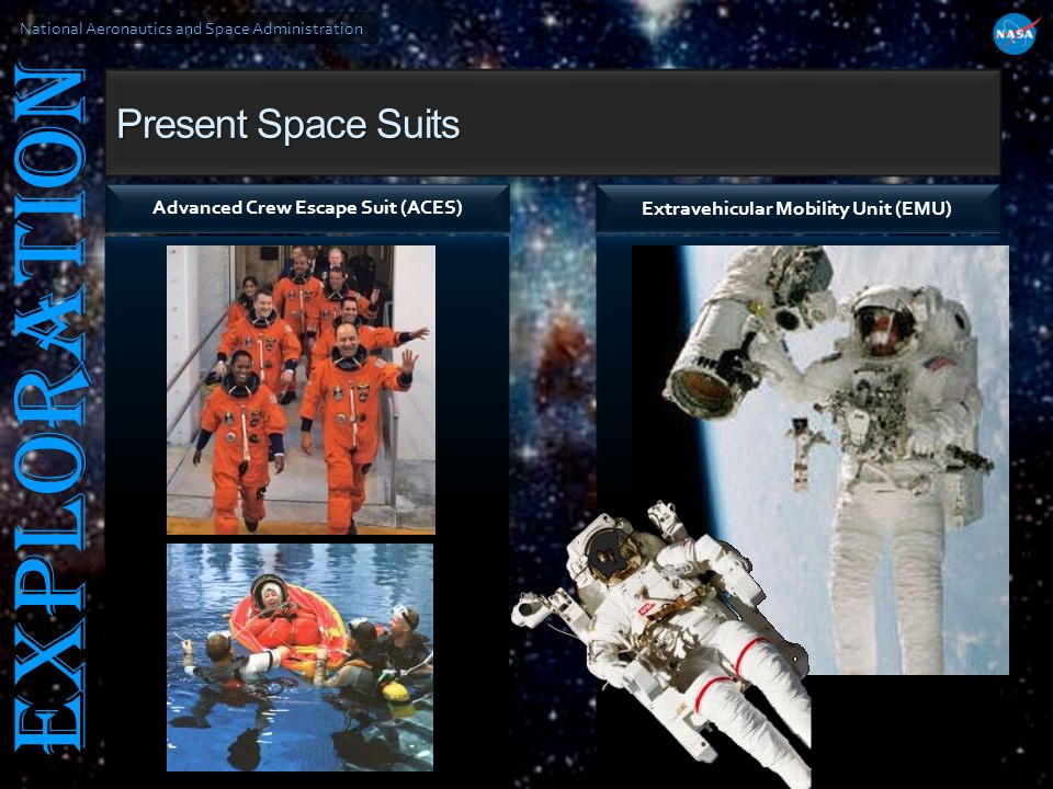 National Aeronautics and Space Administration EXPLORATION Present Space Suits Advanced Crew Escape Suit (ACES) Extravehicular Mobility Unit (EMU)