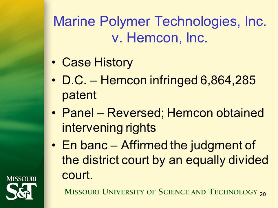 Marine Polymer Technologies, Inc.v. Hemcon, Inc. Case History D.C.