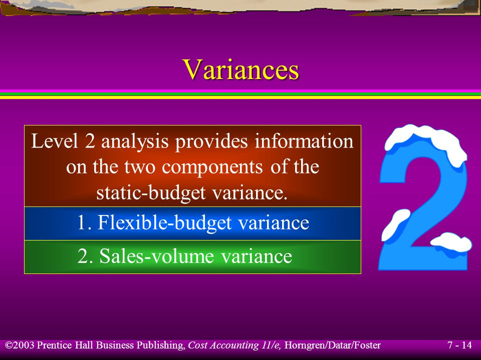 7 - 14 ©2003 Prentice Hall Business Publishing, Cost Accounting 11/e, Horngren/Datar/Foster Variances Level 2 analysis provides information on the two components of the static-budget variance.