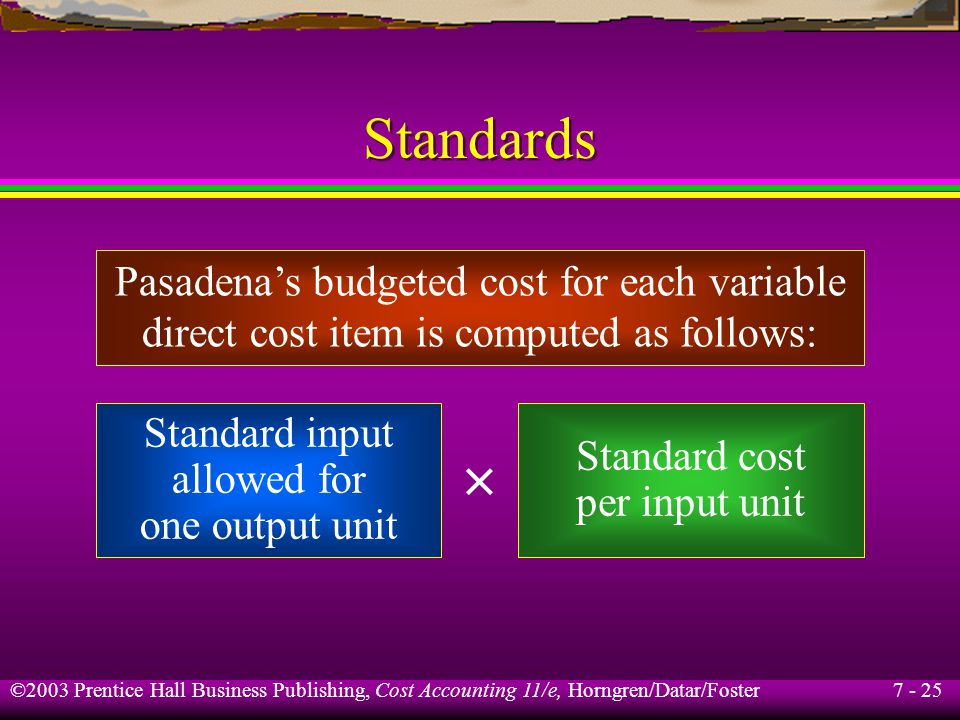 7 - 25 ©2003 Prentice Hall Business Publishing, Cost Accounting 11/e, Horngren/Datar/Foster Standards Pasadenas budgeted cost for each variable direct cost item is computed as follows: Standard input allowed for one output unit Standard cost per input unit ×