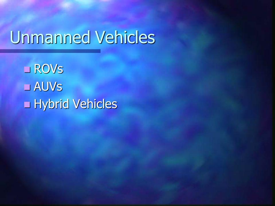 Unmanned Vehicles ROVs ROVs AUVs AUVs Hybrid Vehicles Hybrid Vehicles