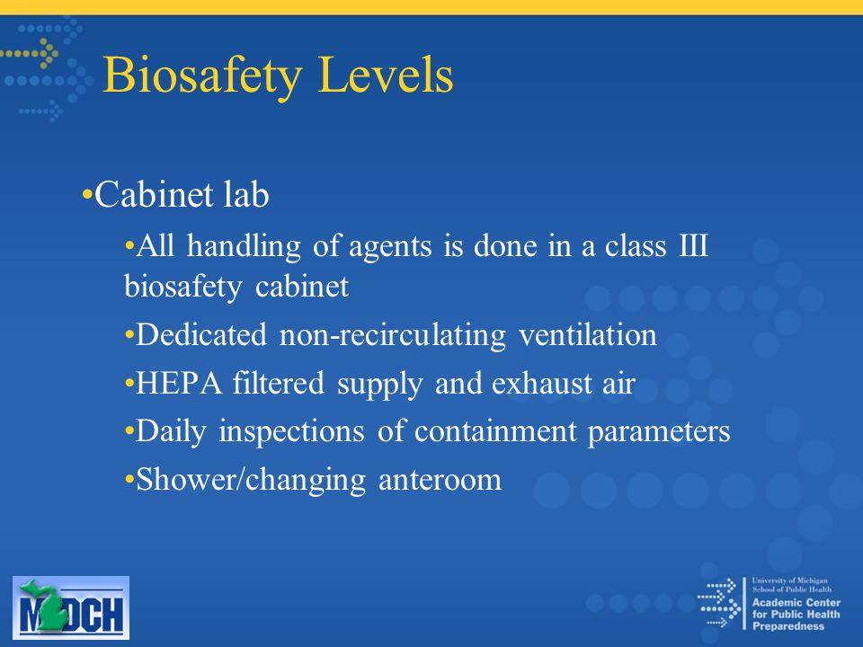 Biosafety Levels Cabinet lab All handling of agents is done in a class III biosafety cabinet Dedicated non-recirculating ventilation HEPA filtered sup