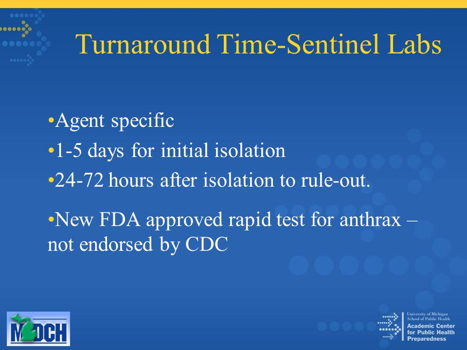 Turnaround Time-Sentinel Labs Agent specific 1-5 days for initial isolation 24-72 hours after isolation to rule-out.