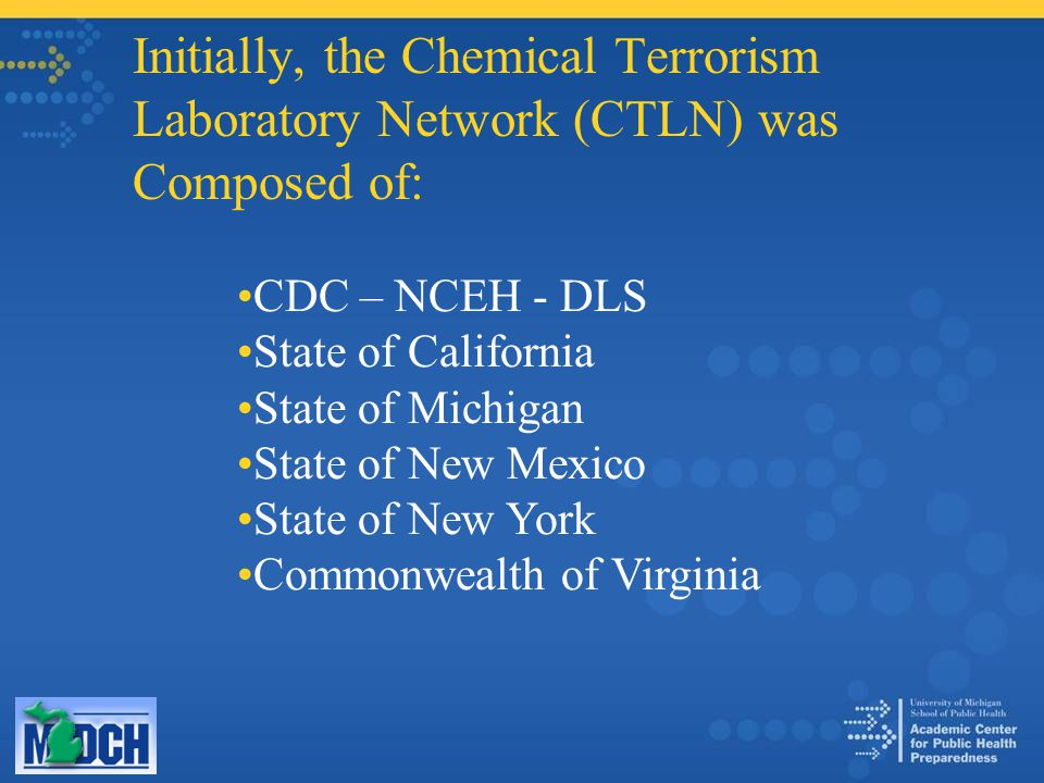 Initially, the Chemical Terrorism Laboratory Network (CTLN) was Composed of: CDC – NCEH - DLS State of California State of Michigan State of New Mexico State of New York Commonwealth of Virginia