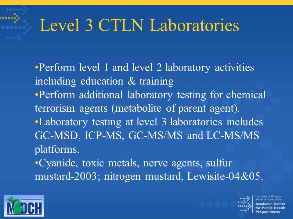 Level 3 CTLN Laboratories Perform level 1 and level 2 laboratory activities including education & training Perform additional laboratory testing for chemical terrorism agents (metabolite of parent agent).