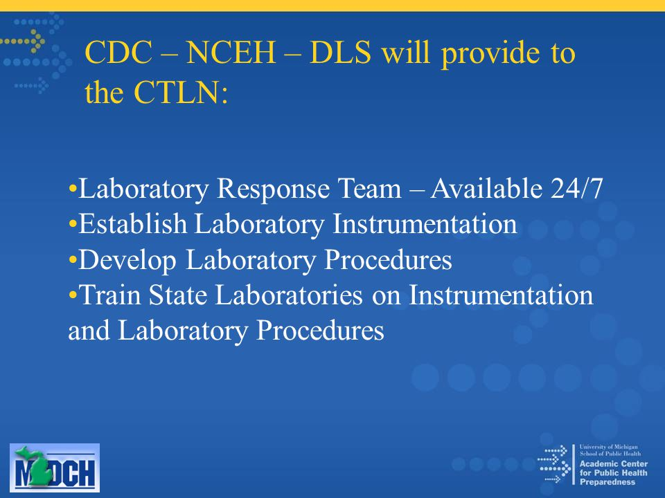 CDC – NCEH – DLS will provide to the CTLN: Laboratory Response Team – Available 24/7 Establish Laboratory Instrumentation Develop Laboratory Procedures Train State Laboratories on Instrumentation and Laboratory Procedures
