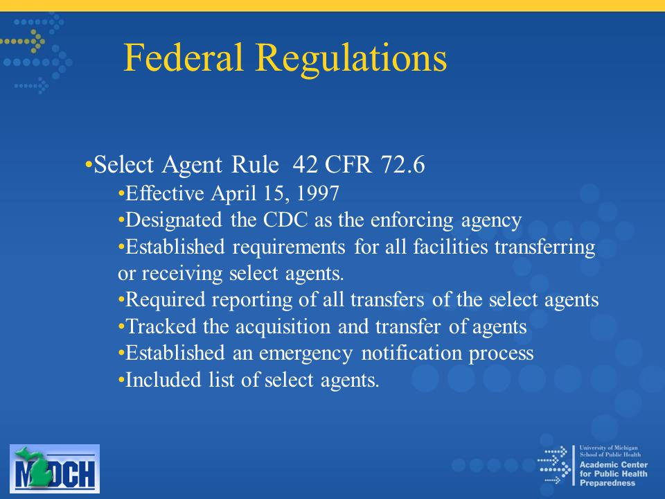 Federal Regulations Select Agent Rule 42 CFR 72.6 Effective April 15, 1997 Designated the CDC as the enforcing agency Established requirements for all
