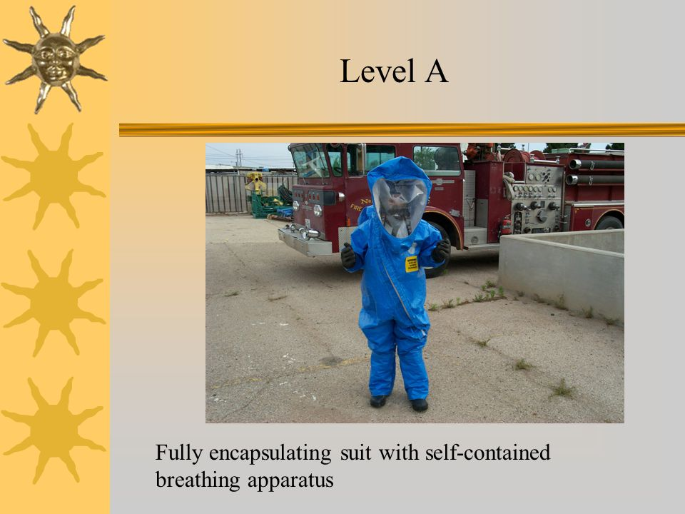 Level A Fully encapsulating suit with self-contained breathing apparatus