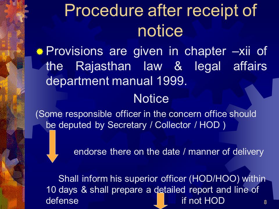 8 Procedure after receipt of notice Provisions are given in chapter –xii of the Rajasthan law & legal affairs department manual 1999. Notice (Some res