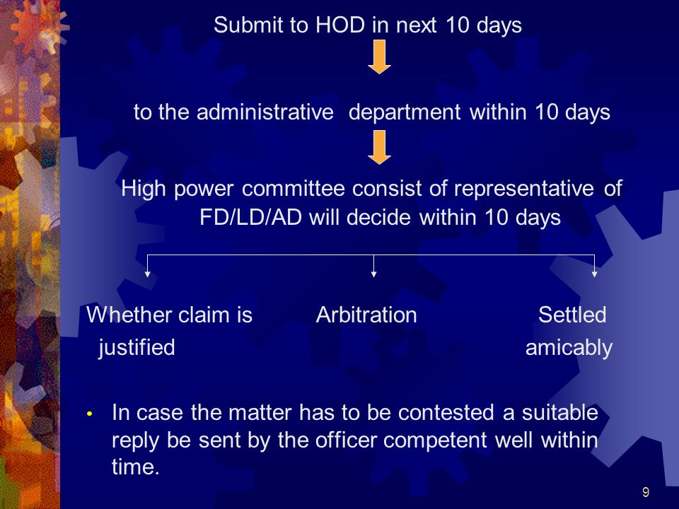 9 Submit to HOD in next 10 days to the administrative department within 10 days High power committee consist of representative of FD/LD/AD will decide