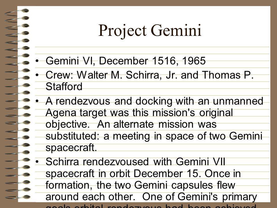 Project Gemini Gemini VI, December 1516, 1965 Crew: Walter M.