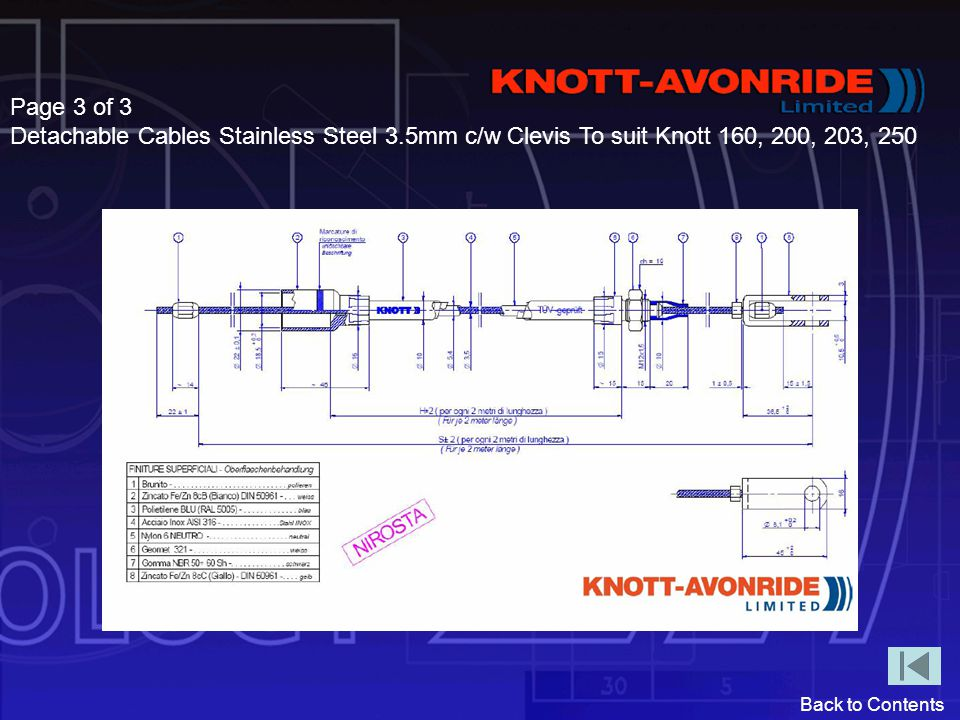 Back to Contents Page 3 of 3 Detachable Cables Stainless Steel 3.5mm c/w Clevis To suit Knott 160, 200, 203, 250