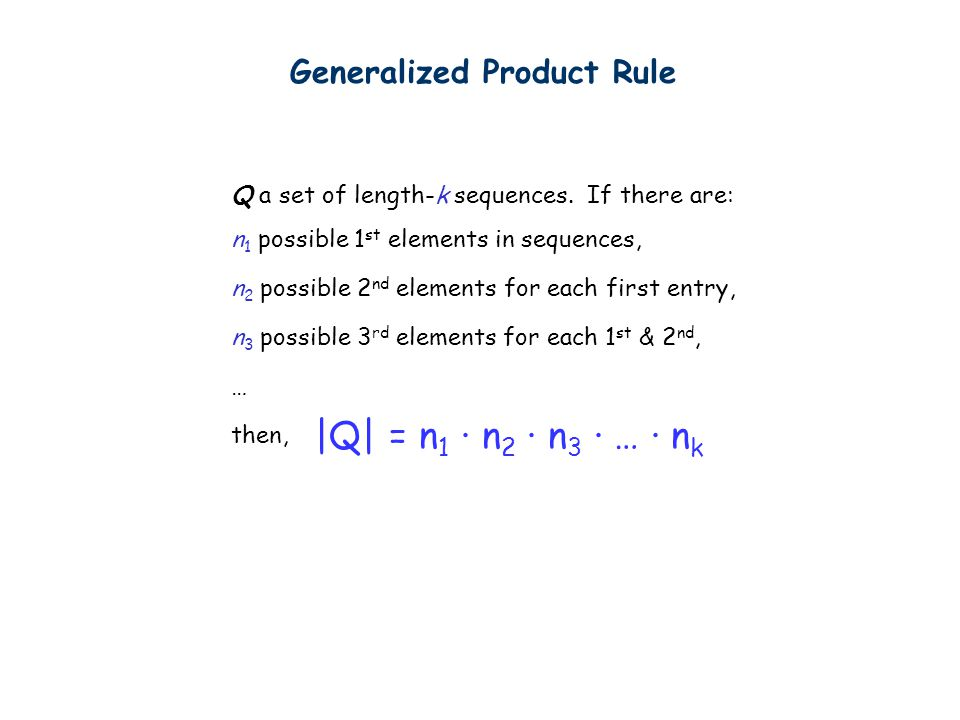 Generalized Product Rule Q a set of length-k sequences.