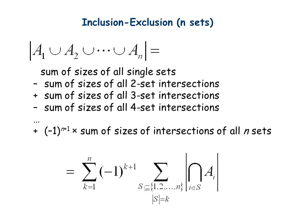 sum of sizes of all single sets –sum of sizes of all 2-set intersections +sum of sizes of all 3-set intersections –sum of sizes of all 4-set intersections … +(–1) n+1 × sum of sizes of intersections of all n sets Inclusion-Exclusion (n sets)