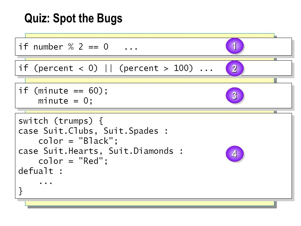 Quiz: Spot the Bugs if number % 2 == 0... if (percent 100)...