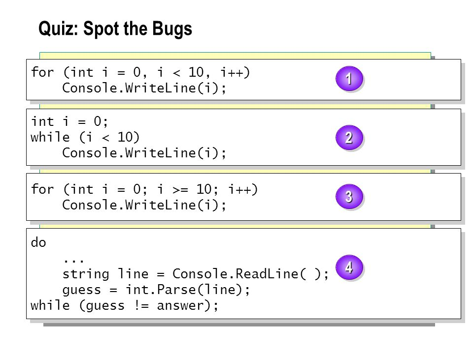 Quiz: Spot the Bugs for (int i = 0, i < 10, i++) Console.WriteLine(i); for (int i = 0, i < 10, i++) Console.WriteLine(i); int i = 0; while (i < 10) Console.WriteLine(i); int i = 0; while (i < 10) Console.WriteLine(i); for (int i = 0; i >= 10; i++) Console.WriteLine(i); for (int i = 0; i >= 10; i++) Console.WriteLine(i); do...