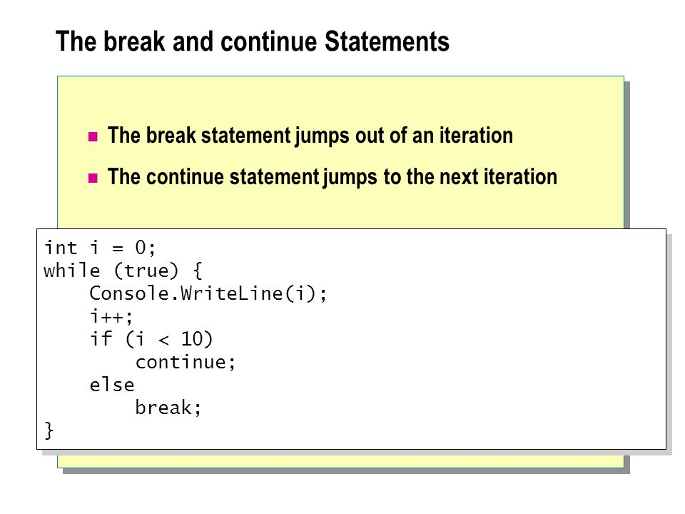 The break and continue Statements The break statement jumps out of an iteration The continue statement jumps to the next iteration int i = 0; while (true) { Console.WriteLine(i); i++; if (i < 10) continue; else break; } int i = 0; while (true) { Console.WriteLine(i); i++; if (i < 10) continue; else break; }