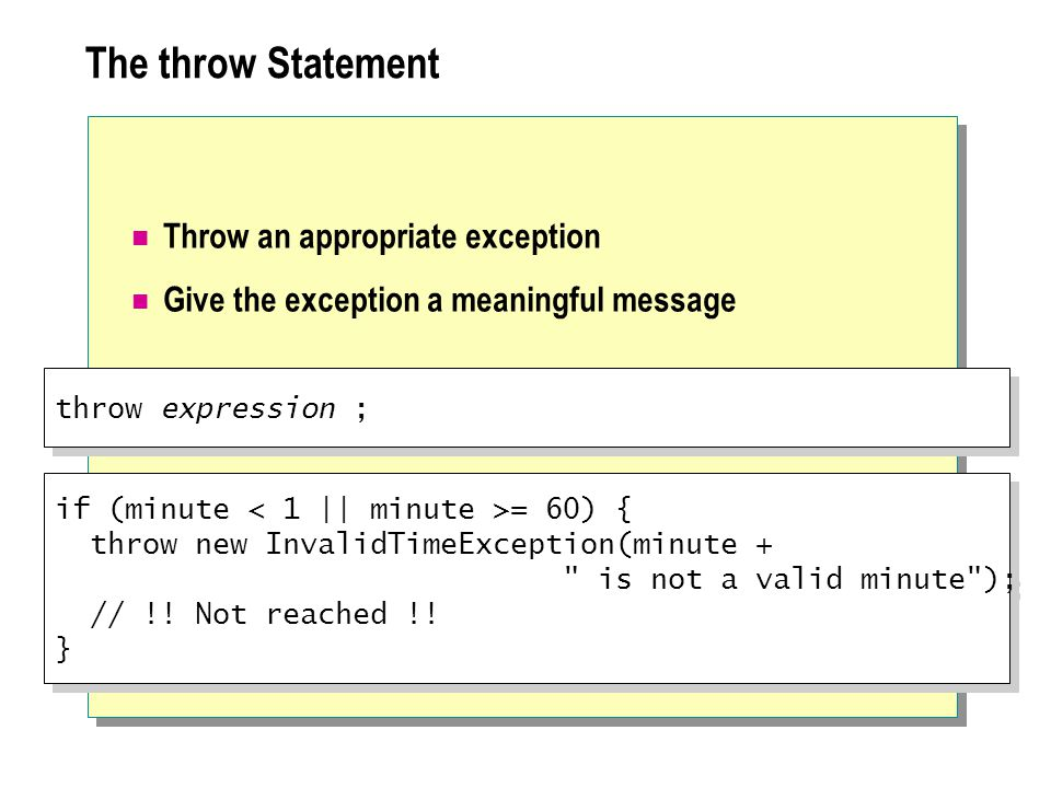 The throw Statement Throw an appropriate exception Give the exception a meaningful message throw expression ; if (minute = 60) { throw new InvalidTimeException(minute + is not a valid minute ); // !.