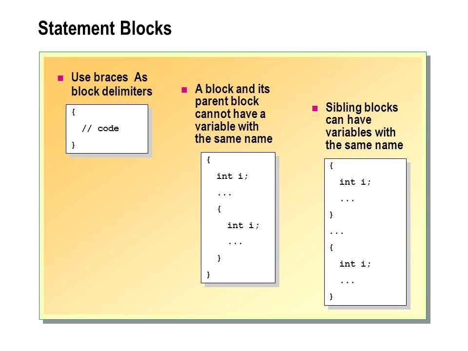 Statement Blocks Use braces As block delimiters { // code } { // code } { int i;... { int i;... } { int i;... { int i;... } { int i;... }... { int i;.