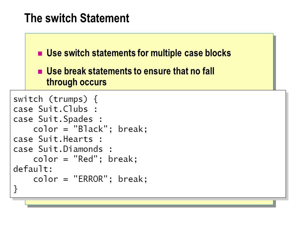 Lab 4.1: Using Statements