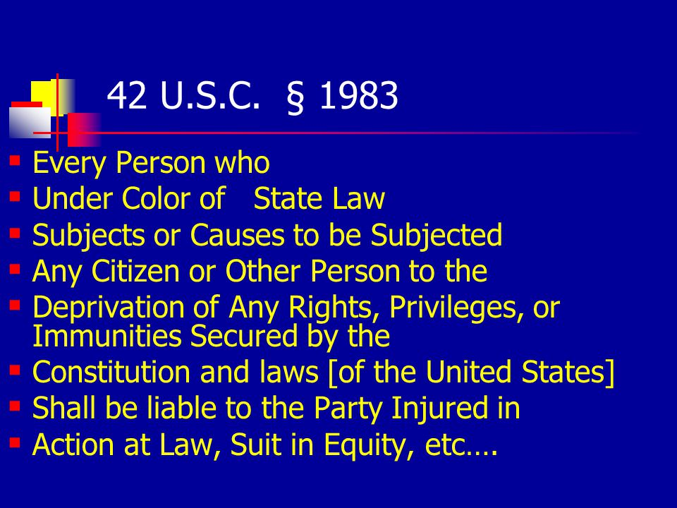 42 U.S.C. § 1983 Every Person who Under Color of State Law Subjects or Causes to be Subjected Any Citizen or Other Person to the Deprivation of Any Ri