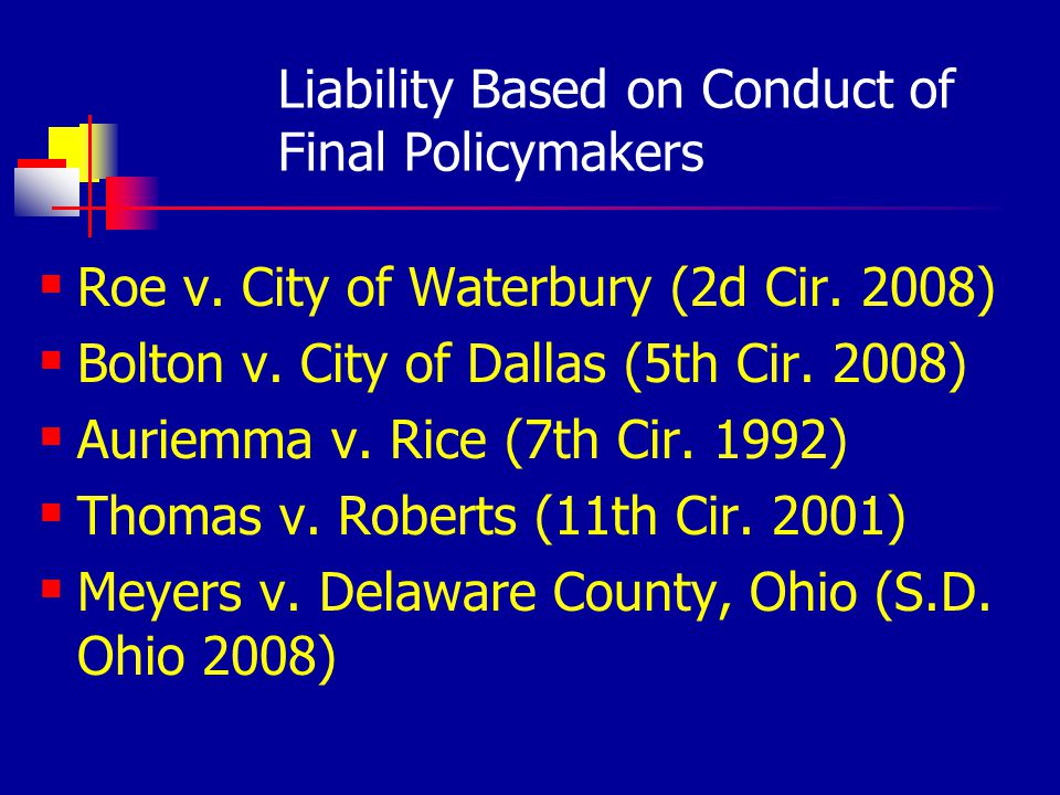 Liability Based on Conduct of Final Policymakers Roe v.