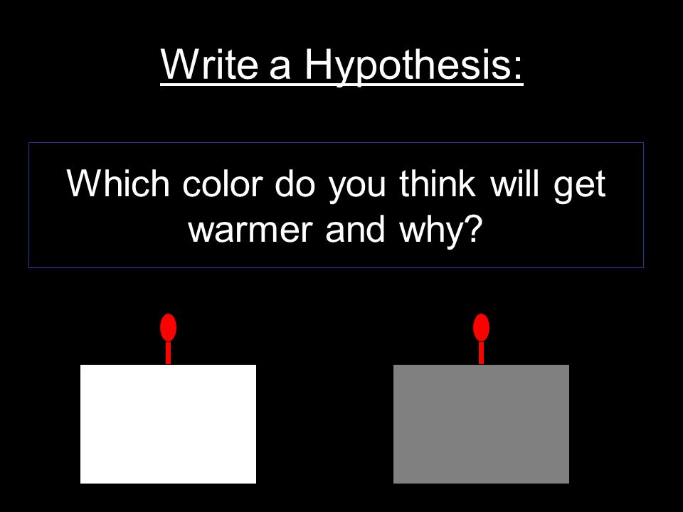 Write a Hypothesis: Which color do you think will get warmer and why