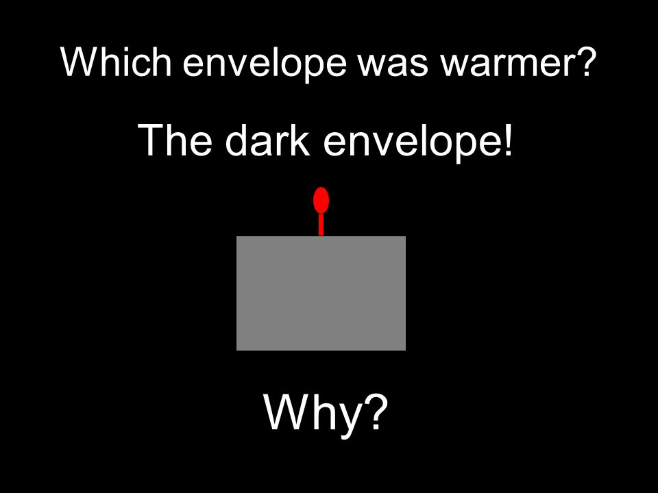 Which envelope was warmer The dark envelope! Why