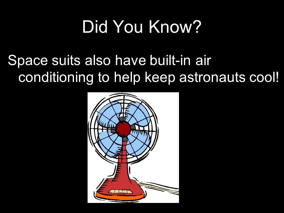 Did You Know Space suits also have built-in air conditioning to help keep astronauts cool!
