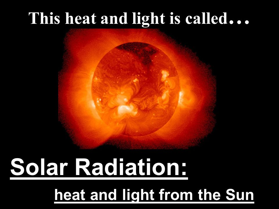 This heat and light is called … Solar Radiation: heat and light from the Sun