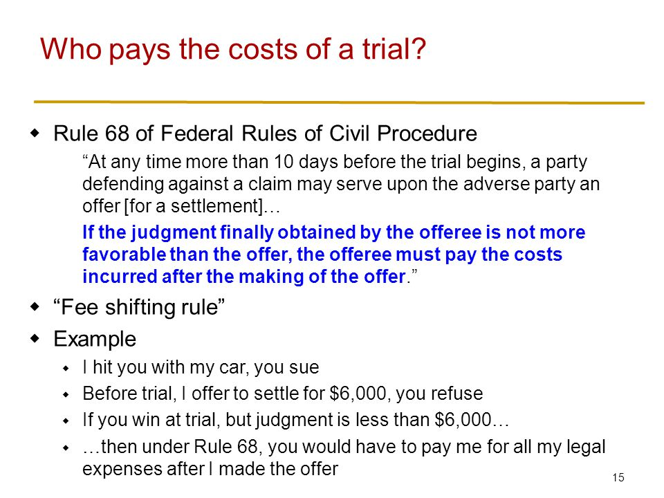 15 Rule 68 of Federal Rules of Civil Procedure At any time more than 10 days before the trial begins, a party defending against a claim may serve upon