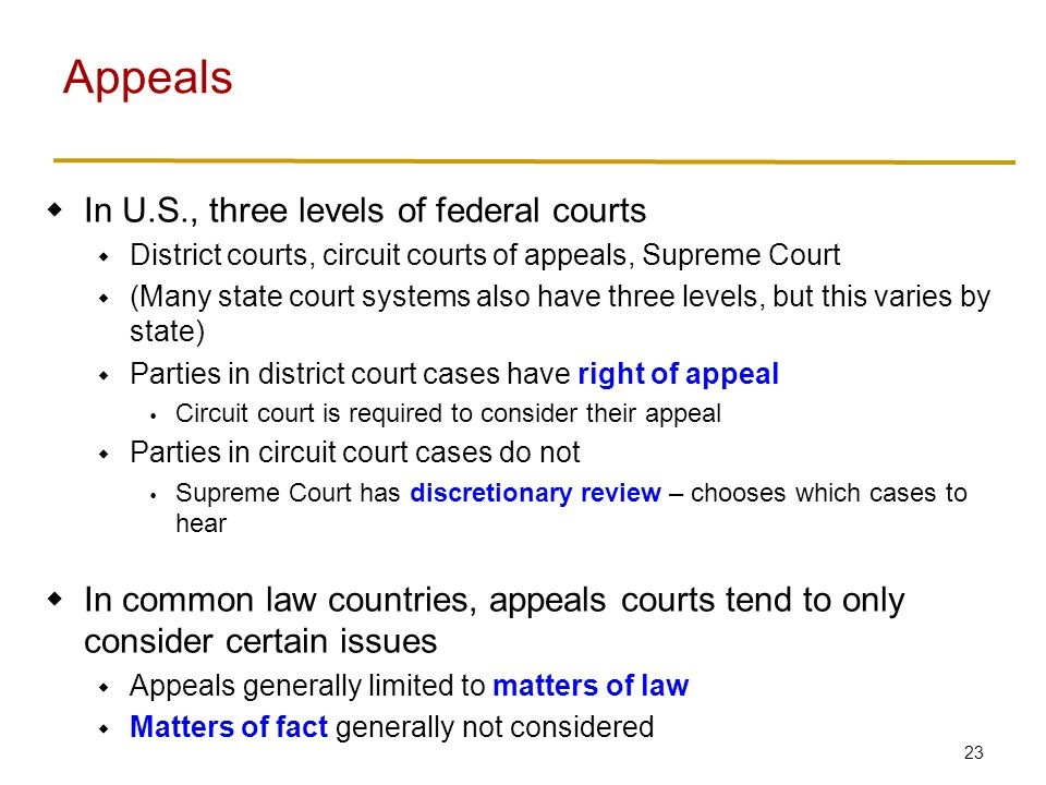 23 In U.S., three levels of federal courts District courts, circuit courts of appeals, Supreme Court (Many state court systems also have three levels,