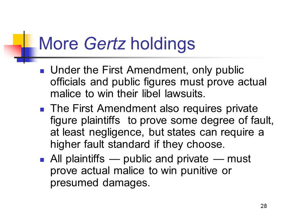 28 More Gertz holdings Under the First Amendment, only public officials and public figures must prove actual malice to win their libel lawsuits. The F