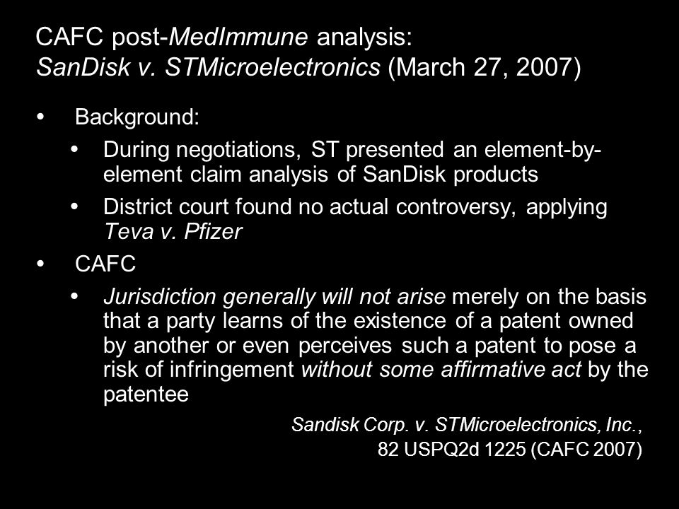 CAFC post-MedImmune analysis: SanDisk v.