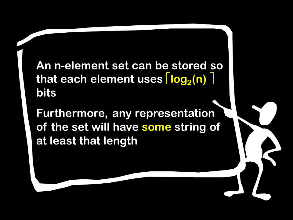 An n-element set can be stored so that each element uses log 2 (n) bits Furthermore, any representation of the set will have some string of at least that length