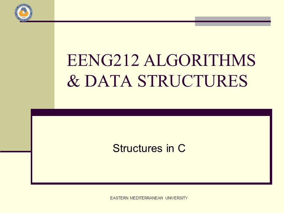 EASTERN MEDITERRANEAN UNIVERSITY EENG212 ALGORITHMS & DATA STRUCTURES Structures in C